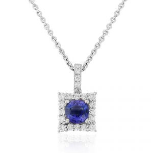 A Tantalizing square cut Sapphire shines bright with Diamond set surround in 18ct White Gold