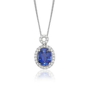 Pendant - 18ct White gold oval sapphire and diamond set cluster with circle diamond set loop