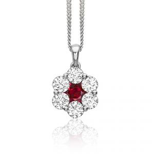 18ct White gold ruby and diamond Daisy - Rudells exclusive ranges
