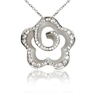18ct White Gold Spiral Flower Pave Diamond Pendant - Rudell The Jewellers