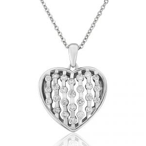 18ct White Gold Brilliant Cut Diamond Set Heart Pendant