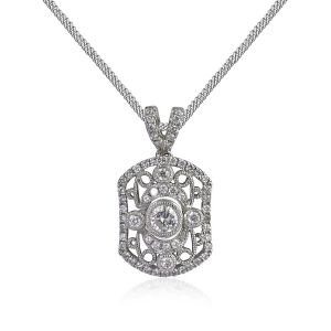 18ct White Gold Rectangular Diamond Pendant