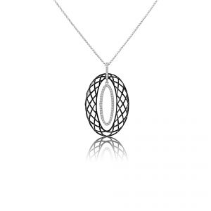 18ct White Gold Diamond set black pendant