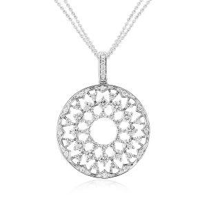A stunning Diamond set kaleidoscope motif pendant shines bright in 18ct White Gold D1.02