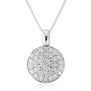 A stunning array of round brilliant pave set Diamonds shine bright in a button shaped 18ct White Gold pendant D.61