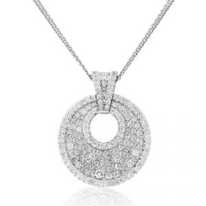 Descending from a double chain, a beautiful Diamond set open circle pendant shines bright in 18ct White Gold