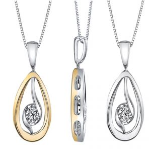 18ct Yellow and White Gold 'Twist' Pendant 0.20CT