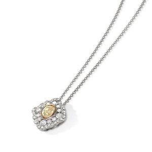 18ct White gold Oval yellow diamond centre and white diamond cluster pendant