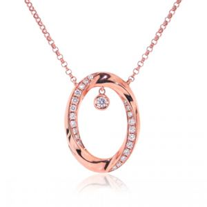 18ct rose gold single oval set with diamonds and suspended diamond on a chain - Rudells exclusive ranges