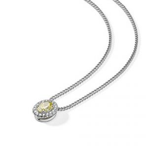 18ct White gold Oval yellow and white diamond pendant