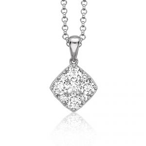 18ct White gold square Daisy diamond set on chain - Rudells exclusive ranges