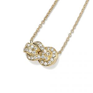 18ct Yellow gold diamond set knot necklet on chain - Rudells exclusive ranges
