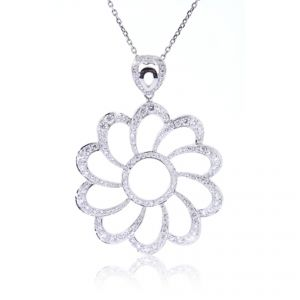 18ct white gold diamond set large flower pendant