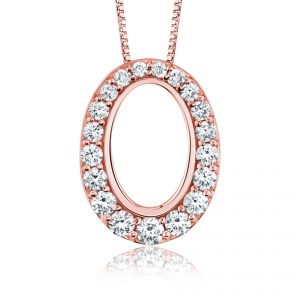 Diamond Set 18ct Pink Gold Pendant