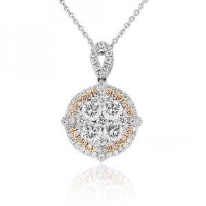 18ct White Gold Pink and White Diamond Pendant