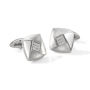 9ct White Gold, Diamond set cufflinks