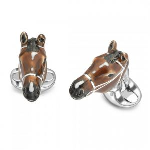 Silver and Enamel horse head Cufflinks