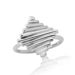 Silver Off Set Square Ribbed Ring