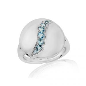 Rudells Dune Silver and Blue Topaz Ring