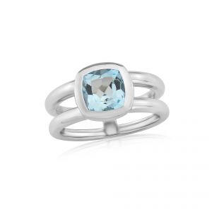 Twin collection Blue Topaz and Silver Ring