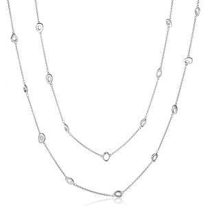 Silver Rachel Galley Ocean Loop Longline Necklace - 30 Inch Adjustable