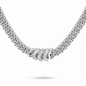 18ct White Gold Vendome With 3 Diamond Set Sections Necklet