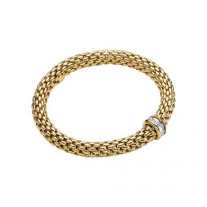 Love Nest 18ct Yellow Gold Bracelet With Diamond Set Rondel