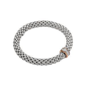 Love Nest 18ct White Gold Bracelet With Rose Gold Pave Diamond Rondel