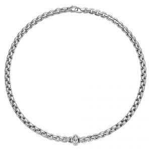 EKA Anniversario 18ct White Gold Necklet With White Gold Diamond Set Rondel