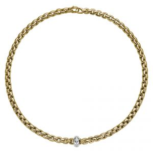 EKA Anniversario 18ct Yellow Gold Necklet With White Gold Diamond Set Rondel