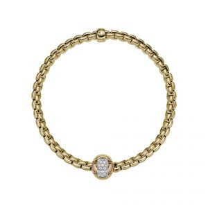 EKA Tiny 18ct Yellow Gold Bracelet With Three Colour Diamond Set Rondel