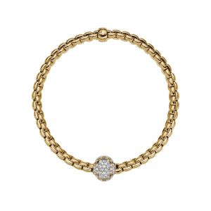 EKA Tiny 18ct Yellow Gold Bracelet With Pave Diamond Set Rondel