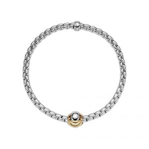 EKA Tiny 18ct White Gold Bracelet With Three Colour Rondel