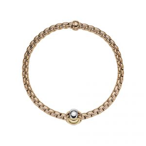 EKA Tiny 18ct Rose Gold Bracelet With Three Colour Rondel