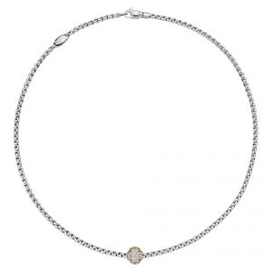 EKA Tiny 18ct White Gold Necklet With Three Colour Pave Diamond Rondel