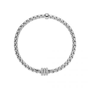 EKA Tiny 18ct White Gold Bracelet With Three Pave Diamond Set Rondels