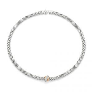Necklet 18ct White gold Flex it Vendome with rose gold pave diamond set rondel