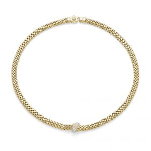 FOPE Necklet 18ct Yellow gold Flex it Vendome with pave diamond