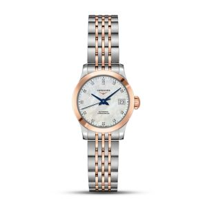 Longines Ladies Stainless Steel and Rose Capped Record Collection 26mm Watch on Bracelet