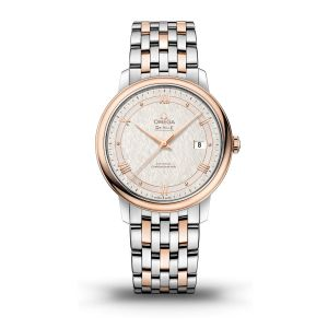 Omega Steel and rose De Ville automatic with silver roman numeral dial on bracelet