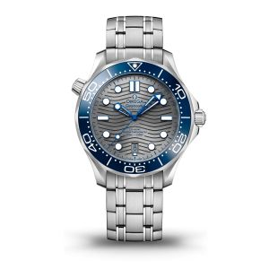 Stainless Steel 42mm Seamaster Automatic With Chrome Wave Dial Blue Bezel On Bracelet