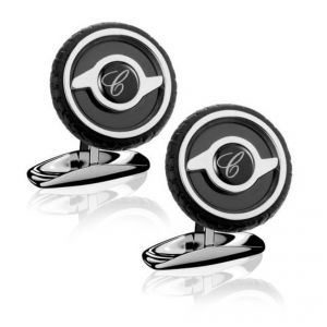 Chopard Stainless steel and black rubber Mille Miglia Dunlop tyre pattern Cufflinks