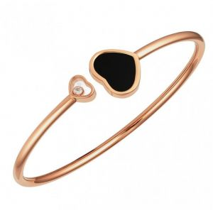 Chopard 18ct Rose Gold Happy Hearts Black Onyx Set Bangle