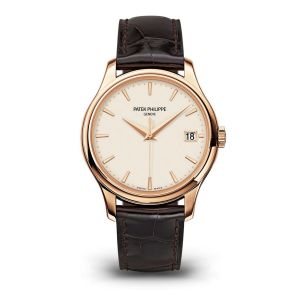 18ct Rose Gold Calatrava Ivory Baton Dial On Brown Strap