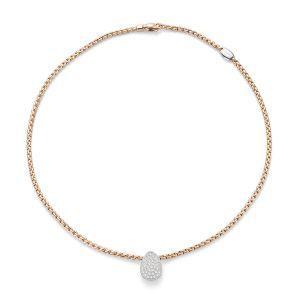 Fope 18ct Rose Gold Eka Tiny Pave Diamond Necklet