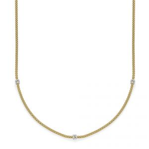 FOPE Necklet 18ct Yellow gold Flex it Prima with 3 diamond sections