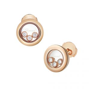 Chopard Earrings 18ct Rose gold round Happy Diamond with 3 floating diamonds