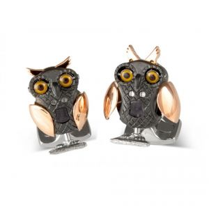 Rose gold with black and silver plating owl cufflinks