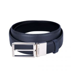 Chopard Belt LUC reversable black/navy polished/brushed palladium finish buckle