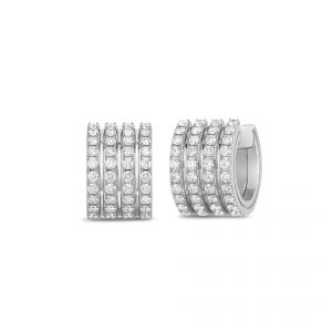 Roberto Coin Earrings - 18ct White gold Portofino 4 row diamond set